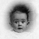 Tim Bowden in 1937 at Christening – apparently plugged into an electric light socket