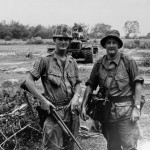 On patrol in South Vietnam with the American Marines near Danang in 1966