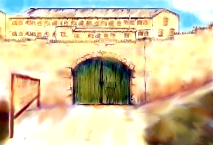 To those prisoners arriving at Outram Road Gaol the first sight were the massive wooden gates in front of the three-tiered block of cramped, tiny cells. (Painting Courtesy of Bill Young)
