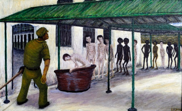 Emaciated prisoners line up in the prison yard for the indignity of the weekly scabies bath. (Painting courtesy Bill Young)
