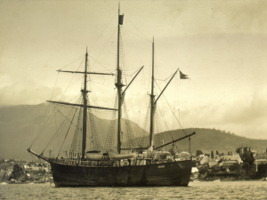 Fram anchored in Hobart's Derwent Estuary, the first port of call since leaving Antarctica after the successful assault on the South Pole
