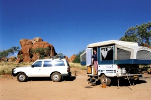 Penelope and The Manor in a top camping site at the Devil's Marbles in the NT.
