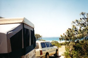 Penelope and The Manor snug in a top camping spot with water views at Cape Arid, west of Esperance on the south coast of WA.