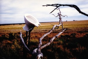 O abandoned dunny, object d' outback art -  Never to grace the smallest room, or hear a... (Nedwob, B'ard)