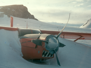 High on the polar plateau, thje forlorn sight of the Pilatus Porter, its bent propellors signalling it would never fly again