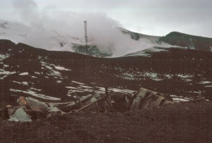 The eruption had completely destroyed the Chilean base. The heat had even melted the steel framing..