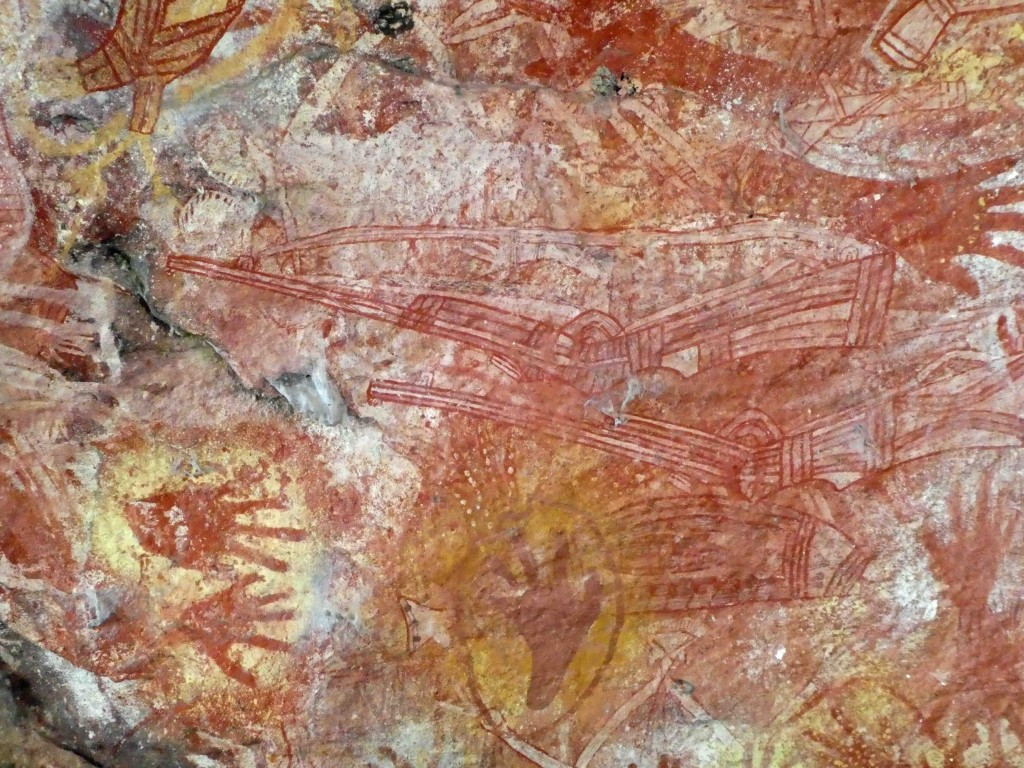 Of course the interaction between Europeans and the First Australians in the 19th century was not always peaceful, and Aborigines were shot and killed, sometimes by buffalo hunters. It is not surprising that these detailed and accurate images of Martini Henry rifles appear among the hand prints and other images on this gallery wall.